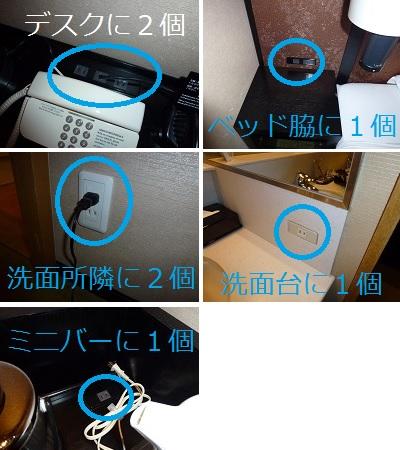 ホテルグランヴィア京都の客室内のコンセント