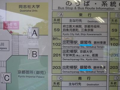 京都地下鉄今出川駅付近のバス案内看板